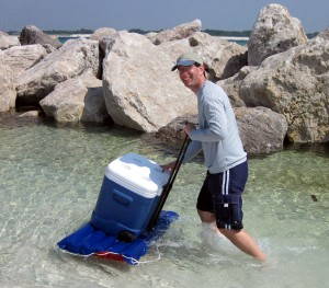 how do you roll a cooler on water?
