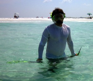 hubby's extremely brief attempt at snorkeling