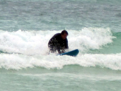 hubby knee surfing