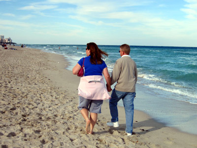 sissy and BIL strolling along south beach