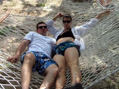 S&W holding down a hammock