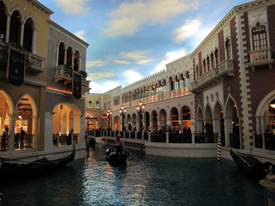 inside the venetian - the gondola stops and the gondolier belts out a tune then turns and goes back out