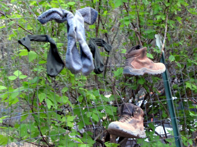 drying and airing out the socks and boots